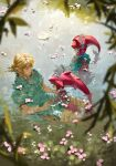 1girl 2boys absurdres bangs blonde_hair blue_shirt branch cherry_blossoms colored_skin crown earrings eye_contact highres jewelry link looking_at_another mipha monster_boy monster_girl multiple_boys nuavic pointy_ears red_skin sharp_teeth shirt sidon swimming teeth the_legend_of_zelda the_legend_of_zelda:_breath_of_the_wild tunic water zora