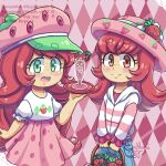 argyle argyle_background bangs basket blush bow brown_eyes champagne_flute cup denim drinking_glass food food-themed_hair_ornament food_print freckles frilled_cuffs frilled_sleeves frills fruit green_eyes growth hair_ornament hat holding holding_basket holding_tray hood hoodie jeans juice large_hat open_mouth pants pink_background pink_headwear pink_hoodie pink_skirt polka_dot_skirt puffy_sleeves redhead ribbon rosie shirt skirt strawberry strawberry_hair_ornament strawberry_hat strawberry_print strawberry_shortcake strawberry_shortcake_(2003) strawberry_shortcake_(2009) strawberry_shortcake_(copyright) striped striped_hoodie sun_hat tray white_shirt