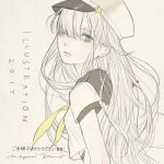 1girl 2017 bandaid black_sailor_collar blue_eyes expressionless from_side hair_over_one_eye illustration.media long_hair looking_at_viewer mayumi_konno original sailor_collar short_sleeves signature solo spot_color white_hair white_headwear yellow_neckwear