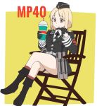 1girl armband black_footwear black_gloves black_neckwear blonde_hair boots brown_eyes buttons chair drinking_straw eyebrows eyebrows_visible_through_hair folding_chair garrison_cap girls_frontline gloves half_gloves hand_on_own_chin hat highres holding iron_cross knee_boots korean_commentary military military_hat military_uniform milkshake mp40_(girls_frontline) necktie nose perfect_han pouch sheath short_hair simple_background sitting smile solo thigh_strap uniform