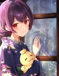 1girl bangs blue_kimono blush closed_mouth commentary_request doll eyebrows_visible_through_hair floral_print flower green_sash hair_flower hair_ornament hand_on_window highres holding holding_doll idolmaster idolmaster_shiny_colors indoors japanese_clothes kimono long_sleeves looking_at_viewer morino_rinze obi print_kimono purple_hair rain red_eyes sash short_hair sky_cappuccino smile solo tied_hair upper_body window zipper