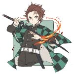 1boy absurdres belt brown_eyes brown_hair checkered closed_mouth cropped_legs earrings fire haori highres holding holding_sword holding_weapon japanese_clothes jewelry kamado_tanjirou kimetsu_no_yaiba korean_commentary long_sleeves male_focus pants papajay_(jennygin2) scar scar_on_face sheath simple_background solo sword two-tone_background weapon white_belt