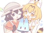2girls animal_ears backpack bag bangs black_gloves black_hair blonde_hair blush elbow_gloves extra_ears feathers gloves hat_feather helmet highres kaban_(kemono_friends) kemono_friends looking_at_viewer lucky_beast_(kemono_friends) multiple_girls nada_namie one_eye_closed open_mouth pith_helmet serval_(kemono_friends) serval_print shirt short_hair short_sleeves signature simple_background sleeveless tail upper_body white_gloves