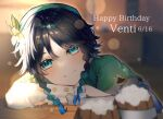1boy androgynous bangs beer_mug beret black_hair blue_hair blurry blurry_background blush braid cape character_name closed_mouth commentary_request cup dated english_text flower foam frilled_sleeves frills genshin_impact gradient_hair green_eyes green_headwear happy_birthday hat hat_flower highres kyomkyom11750 leaf light_particles long_sleeves looking_at_viewer male_focus mug multicolored_hair shirt short_hair_with_long_locks smile solo symbol_commentary twin_braids venti_(genshin_impact) white_flower white_shirt