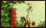 1girl bangs basket blonde_hair blunt_bangs braid closed_eyes dog dress feet_out_of_frame holding holding_basket holding_letter japanese_cylindrical_postbox leaf letter long_hair original plant postbox_(outgoing_mail) smile solo standing tree white_dress yumeko_(yumeyana_g)