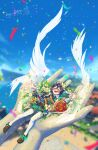absurdres androgynous apple argyle argyle_legwear bangs basket beret black_hair blue_hair blurry blurry_background blush bow braid building cape closed_eyes collared_cape confetti corset day english_commentary feathered_wings feathers flower food frilled_sleeves frills fruit genshin_impact giant_hand gradient_hair green_headwear green_shorts hat hat_flower highres instrument leaf long_sleeves lying lyre multicolored_hair nathania_justine on_back outdoors pantyhose shoes short_hair_with_long_locks shorts sky symbol_commentary twin_braids venti_(genshin_impact) white_flower white_legwear wings