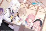 4girls azusa_(blue_archive) blue_archive blush closed_eyes commentary_request cup enosan hair_between_eyes hair_ornament halo hanako_(blue_archive) hifumi_(blue_archive) koharu_(blue_archive) light_brown_hair long_hair low_twintails multiple_girls open_mouth pink_hair school_uniform silver_hair sitting slit_pupils sweat twintails violet_eyes winged_hat