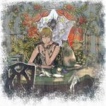 3girls aqua_eyes blonde_hair cat chair curtains fairy flower highres leaf multiple_girls original outline plant red_flower shadow short_hair solo_focus table white_outline window yumeko_(yumeyana_g)