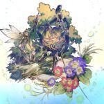 3girls axe black_hair blonde_hair closed_eyes fairy fairy_wings flower holding holding_axe leaf long_hair long_sleeves multiple_girls original purple_flower red_flower short_hair smile wings yumeko_(yumeyana_g)