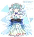 1girl aqua_dress arms_under_breasts back_bow bangs bare_shoulders blue_bow blunt_bangs bow breasts closed_mouth collarbone cosplay cowboy_shot crossed_arms dress earrings floating_hair frown futaba_sana glint green_eyes green_hair jewelry layered_dress light_blush magia_record:_mahou_shoujo_madoka_magica_gaiden mahou_shoujo_madoka_magica medium_hair minami_rena minami_rena_(cosplay) off-shoulder_dress off_shoulder outline polka_dot polka_dot_background scrunchie serious shiny shiny_hair short_dress sidelocks simple_background solo soul_gem striped striped_background sweatdrop totte triangle triangle_earrings twitter_username two_side_up v-shaped_eyebrows vertical-striped_dress vertical_stripes water_drop wavy_hair white_background white_outline
