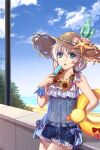 1girl bangs bare_shoulders blue_eyes blue_sky clouds cloudy_sky dress flower food hair_between_eyes hat highres holding holding_food honkai_(series) honkai_impact_3rd innertube looking_at_viewer mywaffuru navel ocean open_mouth outdoors popsicle sand seashell see-through_dress shell shorts sky solo starfish straw_hat summer summer_uniform sundress sunflower theresa_apocalypse theresa_apocalypse_(valkyrie_pledge) white_hair