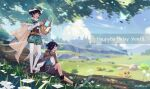 2boys androgynous bangs beret black_hair blue_eyes blue_hair blurry blurry_background boots bow braid brooch brown_cloak brown_shorts bug butterfly cape character_name cloak closed_eyes closed_mouth clouds cloudy_sky collared_cape collared_shirt commentary_request corset dandelion dappled_sunlight day english_text eyebrows_visible_through_hair feathers flower frilled_sleeves frills gem genshin_impact gradient_hair grass green_headwear green_shorts happy_birthday hat hat_flower highres holding holding_instrument insect instrument jewelry leaf light_particles long_sleeves lyre male_focus mountain multicolored_hair multiple_boys nameless_bard_(genshin_impact) open_mouth outdoors pantyhose pinwheel red_flower shirt shoes short_hair_with_long_locks shorts sitting sky smile standing sui25jiyuu sunlight tree twin_braids twitter_username venti_(genshin_impact) vision_(genshin_impact) white_flower white_legwear white_shirt
