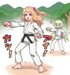 2girls :d barefoot brown_hair clenched_teeth copyright_request dot_nose frown highres long_hair martial_arts multiple_girls one_side_up open_mouth outdoors pants pink_eyes punching sash shirt smile solid_oval_eyes teeth v-shaped_eyebrows white_pants white_shirt yoban