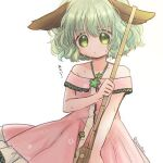 1girl adapted_costume animal_ears bamboo_broom bangs bare_shoulders biyon broom commentary_request dress green_eyes green_hair holding holding_broom hot kasodani_kyouko lowres off-shoulder_dress off_shoulder pink_dress short_hair simple_background solo sweat touhou twitter_username upper_body white_background
