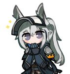 1girl animal_ears arknights armband armor banbon blue_gloves brown_shirt covering_mouth gloves grani_(arknights) grey_hair horse_ears jacket long_hair looking_at_viewer shirt shoulder_armor simple_background solo sparkle upper_body violet_eyes visor_cap white_background