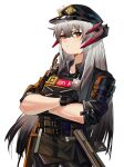 1girl absurdres arknights artist_name black_gloves black_hair black_headwear black_jacket black_pants black_shirt bulletproof_vest chinese_commentary closed_mouth collared_shirt crossed_arms dragon_horns eyebrows_visible_through_hair gloves gradient_hair hair_between_eyes hat highres horns jacket long_hair looking_at_viewer military military_uniform multicolored_hair official_alternate_costume orange_eyes pants peaked_cap saria_(arknights) saria_(iron_law)_(arknights) shirt signature simple_background solo straight_hair strap tsumiki_(12756023) tsurime two-tone_hair uniform upper_body walkie-talkie white_background wing_collar