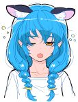 1girl :3 animal_ears blue_hair blush braid cat_ears copyright_request extra_ears highres looking_at_viewer low_braid one_eye_closed open_mouth orange_eyes shirt simple_background sleepy solo twin_braids upper_body white_background white_shirt yoban