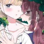 2girls bangs blonde_hair blunt_bangs blurry blurry_foreground blush depth_of_field fang fingernails girls_in_the_hell kawai_rou long_hair looking_at_viewer multiple_girls open_mouth parted_lips purple_vest red_eyes redhead short_hair vest violet_eyes