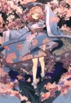 1girl absurdres blue_kimono blurry cherry_blossoms depth_of_field floral_print full_body hat highres japanese_clothes kimono looking_at_viewer mob_cap obi one-hour_drawing_challenge pink_eyes pink_hair saigyouji_yuyuko sash shi_chimi short_hair solo touhou wide_sleeves