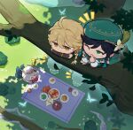 1girl 2boys aether_(genshin_impact) ahoge androgynous apple artist_request bangs beret black_hair blonde_hair blue_hair blush bow braid bug bush butterfly cape dappled_sunlight dress english_commentary finger_to_mouth flower food frilled_sleeves frills fruit genshin_impact gloves gradient_hair grass green_eyes green_headwear green_shorts hair_between_eyes hair_flower hair_ornament halo hat hiding holding holding_food holding_fruit insect jelly leaf light_particles long_hair long_sleeves multicolored_hair multiple_boys notice_lines o_o one_eye_closed open_mouth paimon_(genshin_impact) pantyhose picnic plate red_flower shirt shoes short_hair_with_long_locks shorts shushing smile sunlight tree tree_branch twin_braids venti_(genshin_impact) white_dress white_flower white_hair white_legwear white_shirt yellow_eyes