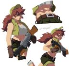 1girl abs baseball_cap belt breasts brown_hair crop_top fio_germi glasses gloves gun hat highres large_breasts long_hair metal_slug midriff muscular muscular_female navel ponytail short_shorts shorts signature simple_background solo sweatdrop weapon werfmight white_background