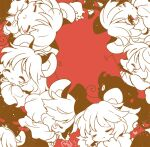 6+girls animal_ear_fluff animal_ears artist_name biyon black_dress capelet chibi clone closed_eyes commentary_request dowsing_rod dress heart long_sleeves monochrome mouse mouse_ears mouse_tail multiple_girls nazrin red_background red_eyes shirt short_hair simple_background tail touhou white_shirt