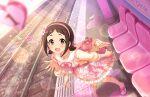 blush brown_hair dress idolmaster_cinderella_girls_starlight_stage muramatsu_sakura red_eyes short_hair smile