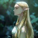 1girl absurdres bangs bare_shoulders blonde_hair blurry blurry_background breasts depth_of_field dress elf from_side green_eyes highres lips long_hair nuavic parted_bangs parted_lips pointy_ears princess_zelda profile shiny shiny_hair small_breasts solo teeth the_legend_of_zelda the_legend_of_zelda:_breath_of_the_wild upper_body white_dress