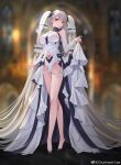1girl absurdly_long_hair absurdres azur_lane bangs bare_legs bare_shoulders black_footwear blurry blurry_background blush breasts chunhui_lee closed_mouth clothing_cutout depth_of_field detached_sleeves dress eyebrows_visible_through_hair formidable_(azur_lane) formidable_(timeless_classics)_(azur_lane) full_body hair_ornament high_heels highres impossible_clothes impossible_dress large_breasts long_hair long_sleeves looking_at_viewer navel_cutout official_alternate_costume red_eyes silver_hair skirt_hold smile solo standing stuffed_toy twitter_username veil very_long_hair weibo_username white_dress