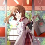 1girl apron beads blurry blurry_background breasts brown_hair bush cowboy_shot delivery dot_nose eyebrows_visible_through_hair fence hair_between_eyes hair_ornament hand_up happy high_ponytail holding indoors kamihama_university_affiliated_school_uniform layered_sleeves light_blush long_sleeves looking_at_viewer looking_back magia_record:_mahou_shoujo_madoka_magica_gaiden mahou_shoujo_madoka_magica open_mouth orange_eyes plaid plaid_skirt pleated_skirt red_sailor_collar red_skirt restaurant rikopin sailor_collar school_uniform short_over_long_sleeves short_sleeves side_ponytail sidelighting skirt sliding_doors small_breasts smile solo tareme tassel white_apron yui_tsuruno