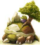 closed_eyes gen_1_pokemon gen_4_pokemon highres leaf lying misonikomiii no_humans oddish on_stomach pokemon pokemon_(creature) sleeping spikes symbol_commentary torterra tree