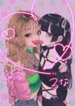 2girls :d arm_around_waist bangs black_choker black_hair black_nails blunt_bangs brown_eyes brown_hair choker ear_piercing earrings eyebrow_piercing fang finger_heart fingernails flower_tattoo french_kiss from_side grey_eyes hand_up heart highres jacket jewelry kawai_rou kiss lip_piercing long_fingernails looking_at_viewer looking_to_the_side midriff multiple_girls multiple_rings nail_polish navel navel_piercing o-ring o-ring_top open_mouth original piercing pink_background pink_jacket red_nails ring smile spike_piercing tattoo tongue tongue_out tongue_piercing twintails v yuri