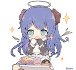 1girl animated animated_gif arknights artist_name black_gloves black_jacket black_shorts blue_eyes blue_hair blush chibi cowboy_shot demon_girl demon_horns demon_tail detached_wings doughnut energy_wings food fur-trimmed_hood fur_trim gloves halo hands_up hood horns jacket long_hair matsu_jamu mismatched_gloves mostima_(arknights) open_clothes open_jacket open_mouth pastry_box shirt shorts sparkle tail transparent_background white_gloves white_shirt wings