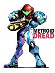 1girl absurdres arm_cannon artist_name copyright_name full_body helmet highres looking_at_viewer metroid metroid_dread pose rariatto_(ganguri) samus_aran simple_background solo standing weapon white_background