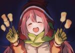 1girl bangs blush brown_headwear closed_eyes coat commentary_request eyelashes facing_viewer food fuwamoko_momen_toufu gloves green_scarf hands_up happy hat highres holding holding_stick kagamihara_nadeshiko long_sleeves marshmallow night open_mouth outdoors pink_hair scarf sky smile solo stick tongue upper_body upper_teeth yurucamp |d