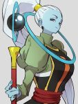 1girl blue_skin closed_mouth colored_skin dragon_ball dragon_ball_super fingernails grey_background holding holding_staff kemachiku lips long_hair long_sleeves looking_at_viewer ponytail puffy_long_sleeves puffy_sleeves simple_background smile solo staff vados_(dragon_ball) very_long_hair violet_eyes white_hair
