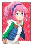 1girl aikatsu!_(series) aikatsu_stars! blue_bow blue_eyes blue_hairband blue_jacket blush border bow closed_mouth drill_hair hair_bow hairband hood hooded_jacket jacket looking_at_viewer open_clothes open_jacket own_hands_together pink_hair ponytail red_background sakuraba_rola shirt smile solo upper_body white_border white_shirt yoban