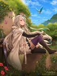 1girl animal bangs bird black_legwear blue_eyes blue_sky boots bridal_gauntlets brown_footwear bug butterfly character_request cloak clouds commentary day dragalia_lost dress english_commentary eyebrows_visible_through_hair green_hair grey_hair hair_between_eyes hentaki heterochromia highres hood hood_down hooded_cloak insect mismatched_legwear multicolored_hair outdoors purple_legwear sheath sheathed sky solo streaked_hair sword thigh-highs thighhighs_under_boots tree watermark weapon web_address white_cloak white_dress yellow_eyes