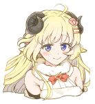 1girl bare_shoulders blonde_hair blue_eyes blush bow bowtie brooch closed_mouth cropped_torso curled_horns eyebrows_visible_through_hair hair_ornament hairclip highres hololive horns jewelry looking_at_viewer red_bow red_neckwear simple_background smile solo tsunomaki_watame upper_body violet_eyes white_background yoban