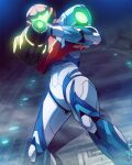 1girl absurdres arm_cannon armor artist_request helmet highres looking_at_viewer metroid metroid_dread power_armor samus_aran science_fiction sidelocks simple_background solo varia_suit visor weapon