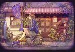 1girl blue_footwear brown_hair brown_headwear building crossed_legs door fairy flower from_side hat long_hair original plant shadow shoes sitting solo sparkle wide_shot window yumeko_(yumeyana_g)