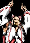 armpits bald beard cosplay crossover dashio facial_hair fusion hakurei_reimu hakurei_reimu_(cosplay) male manly middle_finger muscle parody red_eyes ribbon sarashi simple_background solo stone_cold_steve_austin touhou wwe