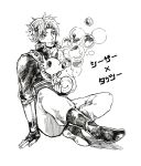 bubble caesar_anthonio_zeppeli crossover fingerless_gloves gloves headband horsea iu jojo_no_kimyou_na_bouken male monochrome pokemon sitting