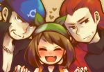 1girl 2boys alternate_costume aogiri_(pokemon) bandana black_hair blush brown_hair cambo_copoca closed_eyes dotted_line dotted_outline facial_hair fang haruka_(pokemon) haruka_(pokemon)_(remake) hat heart jewelry matsubusa_(pokemon) multiple_boys necklace odamaki_sapphire pokemon pokemon_(game) pokemon_rse pokemon_special red_hair redhead smile