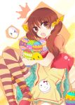 blush blush_stickers brown_hair easter easter_egg easters egg hair_ribbon long_hair pantyhose ribbon solo striped