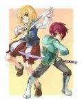 asbel_lhant blonde_hair brown_hair green_eyes grey_eyes katana male multiple_boys ready_to_draw richard_(tales_of_graces) rick_(artist) rick_(milklion) sword tales_of_(series) tales_of_graces weapon yellow_background young