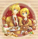 aqua_eyes blonde_hair bow cake cream cream_puff doughnut food fork hair_bow hair_ornament hairclip highres kagamine_len kagamine_rin low_twintails macaron mont_blanc_(food) muffin necktie pastry plaid plate school_uniform short_hair short_ponytail short_twintails siblings smile tartan teapot teito tongue tray twins twintails vocaloid