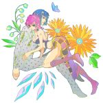 1girl bare_shoulders blue_eyes blue_hair boots breasts bruno_bucciarati butterfly choker cleavage couple flower green_eyes green_lipstick hair_ornament hairclip hunazusi jojo_no_kimyou_na_bouken lipstick messy_hair pink_hair plant skirt trish_una zipper