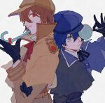 1boy 1girl akechi_gorou androgynous black_gloves blue_eyes blue_hair brown_hair cabbie_hat candy candy_cane capelet coat collared_shirt detective expressionless food gloves hair_between_eyes hat highres holding holding_food lollipop looking_at_viewer neck_ribbon persona persona_4 persona_5 red_eyes reverse_trap ribbon shenhaihua shirt sideways_glance simple_background smile swirl_lollipop upper_body white_background white_shirt