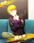 blonde_hair character_name closed_eyes dress idolmaster idolmaster_side-m maita_rui short_hair smile